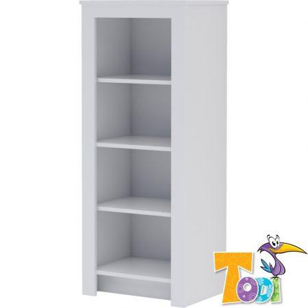 Todi White Bunny – keskeny nyitott polcos szekrény (140 cm magas)