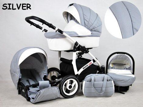 White Lux Multifunkciós Babakocsi - Silver