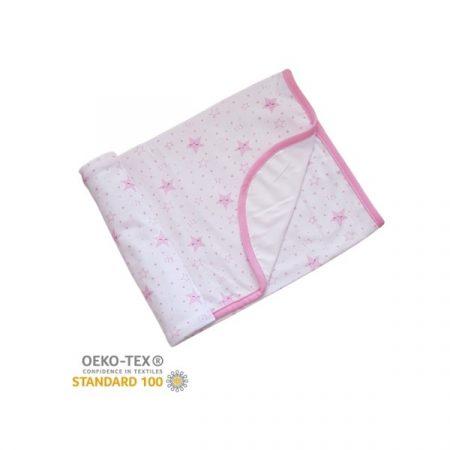 Pamut takaró mintás 70×90 – Fehér/Rózsaszín Csillag Számos